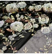 Tüll csipke – Fekete alapon színátmenetes flitteres mintával
