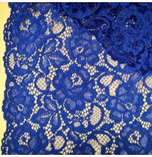 Elasztikus csipke – Középkék színben, zsinóros dísszel, bordűrrel