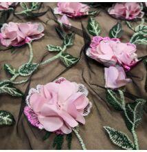 3D tüll csipke – Fekete alapon rózsaszín virággal