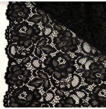 Elasztikus csipke – Fekete színben, zsinóros dísszel, bordűrrel