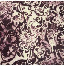 Plüss bársony – Lila és fehér virág mintával