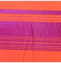 Poliészter jersey – Narancssárga alapon csillogó csíkos mintával