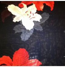 Muszlin – Fekete színű alapon liliom mintával
