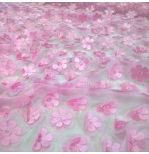 3D tüll – Térbeli virág mintával, rózsaszín színben