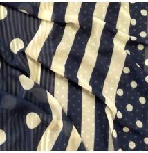 Muszlin – Pöttyös és csíkos mintával, sötétkék színben