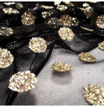 Lágy tüll – Fekete alapon aranyszínű, csillogó pöttyökkel