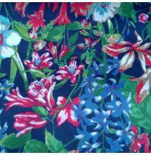 Elasztikus pamut szövet – Virágözön sötétkék alapon