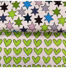 Extra pamutszövet – Színes csillagos és zöld szívecskés mintával