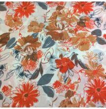 Selyem – Nagy virágos mintával, narancssárga árnyalatban