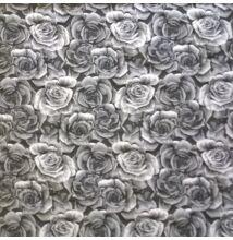 Jacquard – 3D rózsa mintával, szürke színben