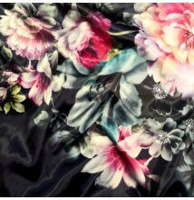 Poliészter selyem – Sötétkék alapon színes virág mintával, digital print