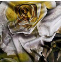Poliészter selyem – Bézs alapon óriási rózsa mintával, digital print