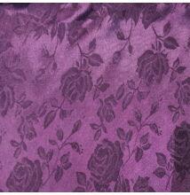 Szatén jacquard – Nagyméretű rózsa mintával, lila színben