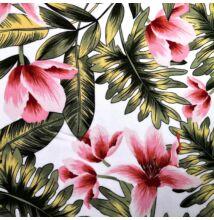 Viszkóz selyem – Rózsaszín liliom mintával, fehér alapon