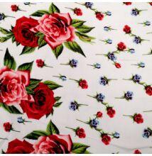 Viszkóz selyem – Bordűrös rózsa mintával, fehér alapon