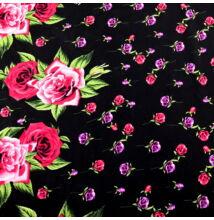Viszkóz selyem – Bordűrös rózsa mintával, fekete alapon