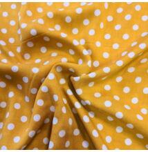 Viszkóz selyem – Citromsárga alapon fehér pöttyös mintával
