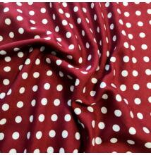 Viszkóz selyem – Bordó alapon fehér pöttyös mintával