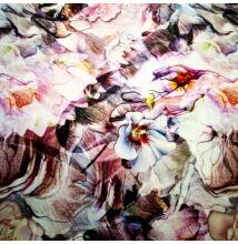 Poliészter selyem – Nagyméretű vadrózsa és hibiszkusz virágmintával