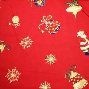 Bútorvászon – Karácsonyi díszek és mikulás mintával, piros
