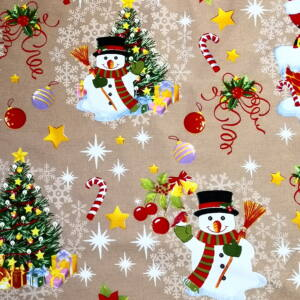 Bútorvászon – Hóember és karácsonyfa mintával, bézs alapon