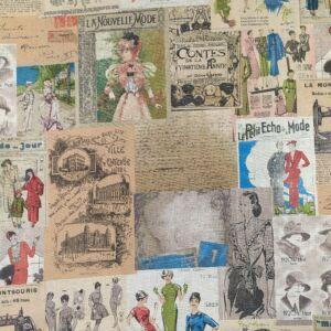 Bútorvászon – Nyers alapon képregény vintage hölgyek mintával, LONETA