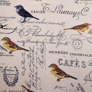 Bútorvászon – Kézírás és cinke madár mintával