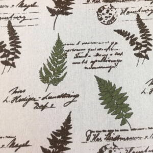 Bútorvászon – Olajzöld levél és kézírás mintával