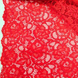 Elasztikus csipke – Piros színben, zsinóros dísszel, bordűrrel
