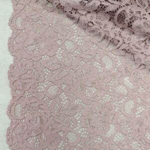 Elasztikus csipke – Púder rózsaszín színben, zsinóros dísszel, bordűrrel