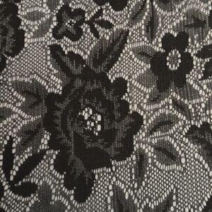 Elasztikus csipke – Fekete színben, változatos virág mintával
