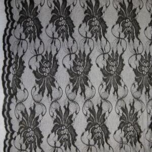 Elasztikus csipke – Fekete színben, nagyméretű virág mintával, bordűrrel