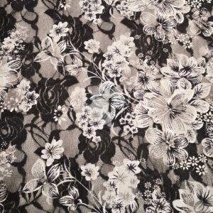Elasztikus csipke – Fekete színben, szürke virág mintával