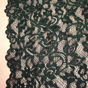 Elasztikus csipke – Sötétzöld színben, bordűrrel