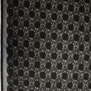Csipke – Fekete virágos mintával, bordűrrel