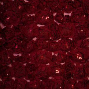 3D tüll csipke – Flitteres virágmintával, bordó színben
