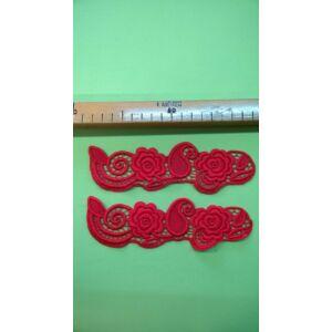 Csipke rátét – Piros színű, két virágos mintával