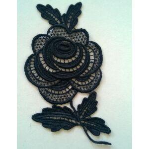 Csipke rátét – Fekete színű, rózsa alakú