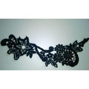 Csipke rátét – Fekete színű virágos, indázó mintával