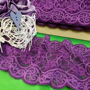 Csipke szalag – Lila színű elasztikus műszálcsipke