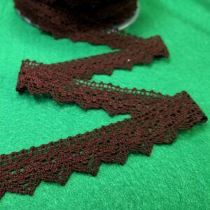 Csipke szalag – Barna színű cakkos szélű pamutcsipke, 2cm
