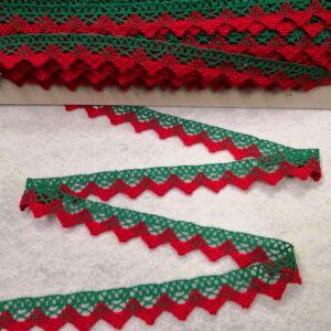 Csipke szalag – Zöld és piros színű pamutcsipke, 1,5cm