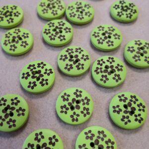 Dekor gomb – Barna kis virágos mintával, zöld