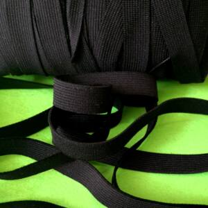Gumiszalag – Nadrág gumipertli fekete színben, 12mm