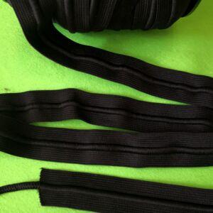 Gumiszalag – Fekete színben, zsinóros, 30mm