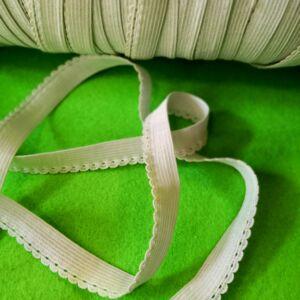 Gumiszalag – Csipkegumi (szélgumi) fehér színben, 10mm