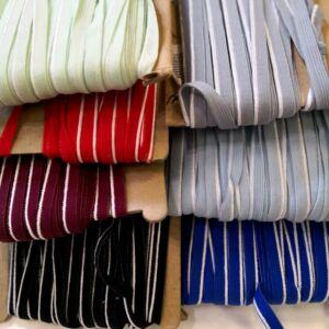 Gumiszalag – Szélgumi fehér csíkkal, 7 féle színben, 8mm