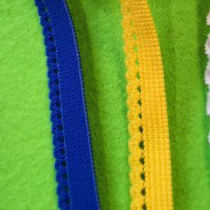 Gumiszalag – Csipkegumi (szélgumi) kék és sárga színben, 10mm