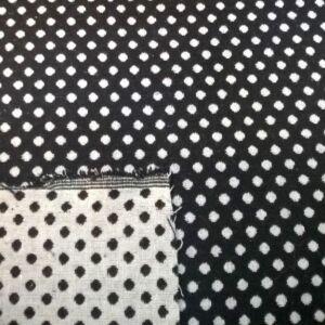 Kétoldalú pamutszövet –  Fekete-fehér pöttyös mintával