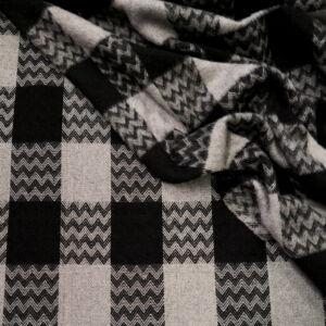 Kétoldalas kabátszövet – Szürke-fekete kockás mintával